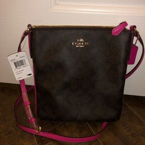 Large coach cross body bag brown pink